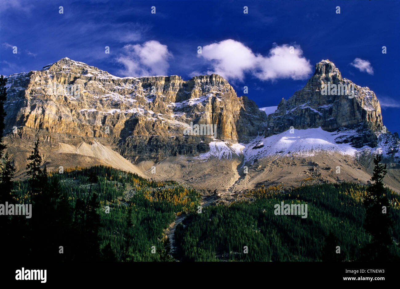 A view of one of the mountains on Yoho National Park, on the Canadian Rockies - Stock Image