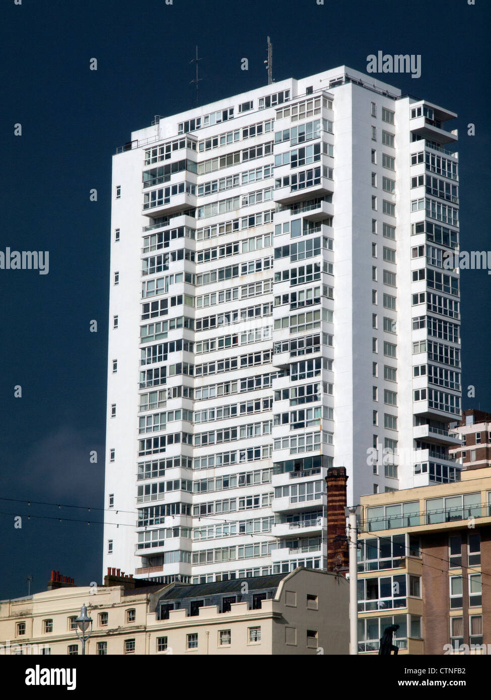 Sussex Heights,a residential tower block in Brighton,England. - Stock Image
