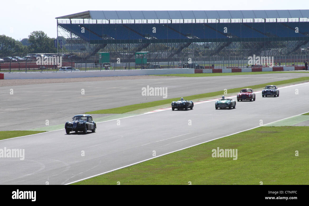Race at RAC Woodcote Trophy for Pre-56 Sports cars at Silverstone Classic 22 July 2012 - Stock Image