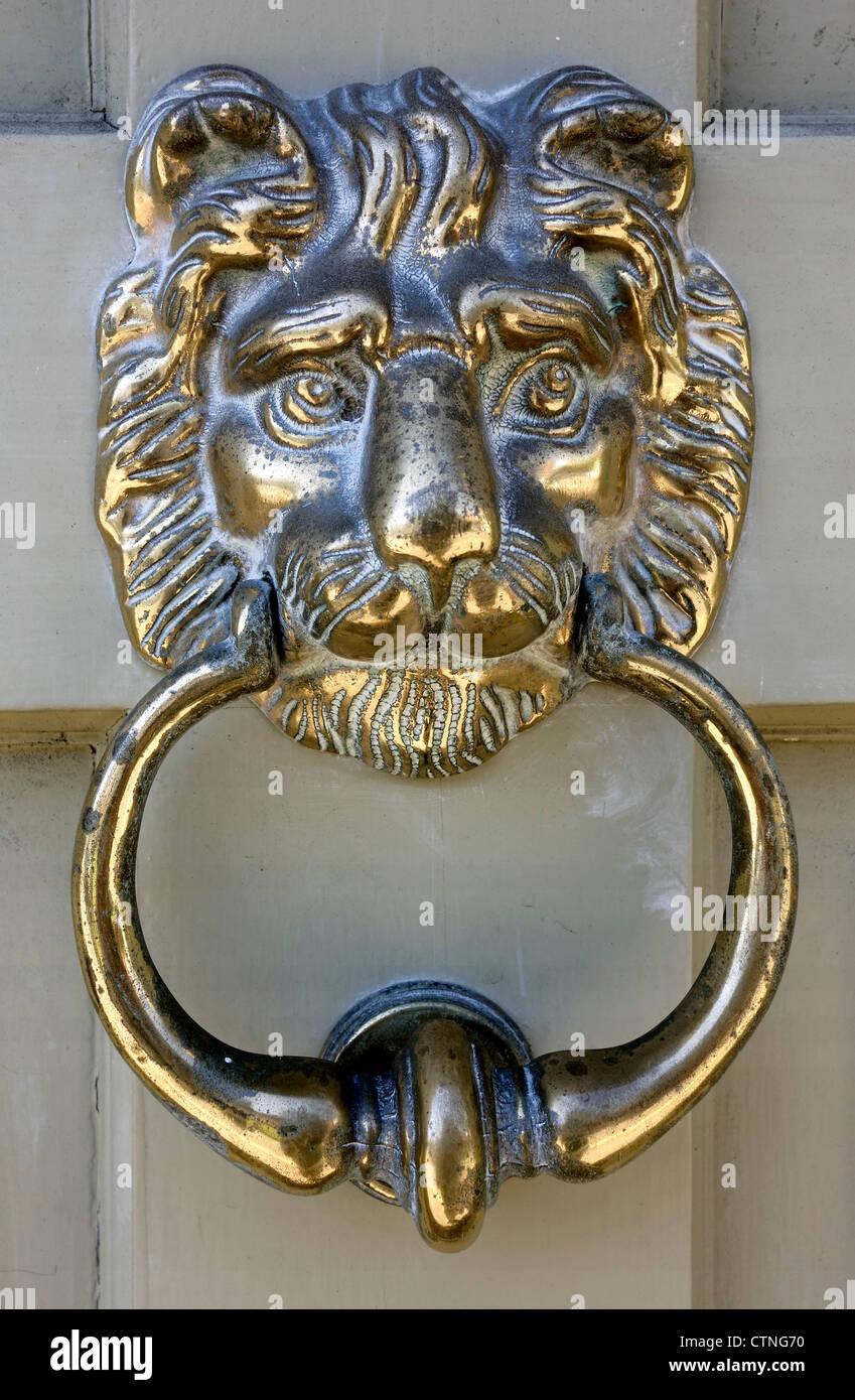Brass Lion Head Door Knocker In Castle Street Saffron Walden   Stock Image