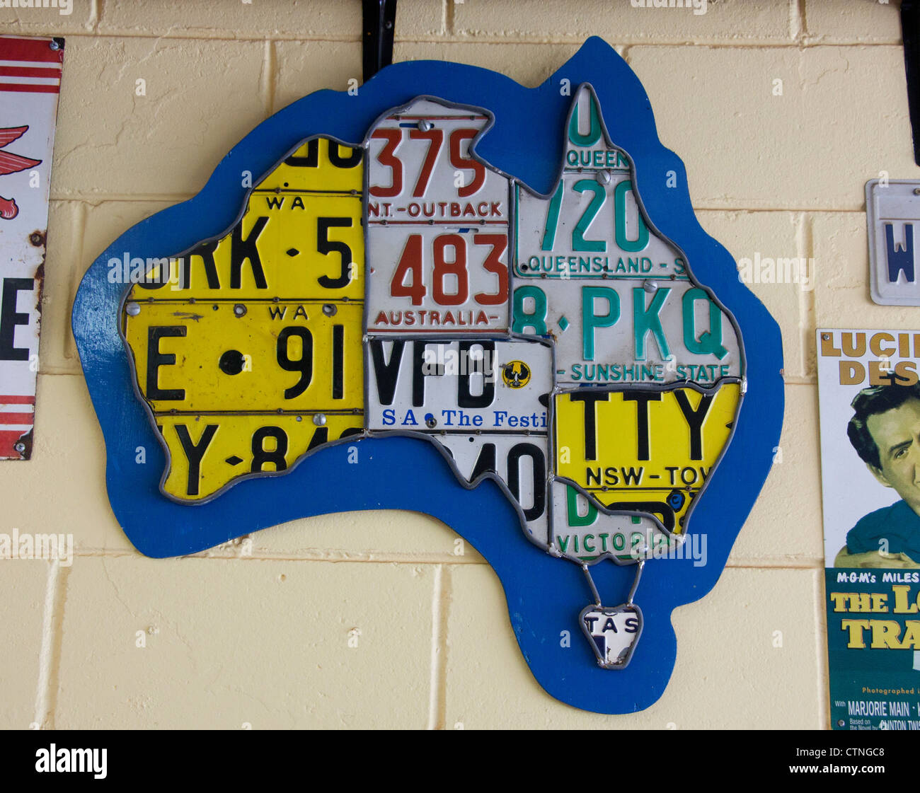 Map of Australia made from car number plates from each of the different states Palm Beach Sydney New South Wales - Stock Image