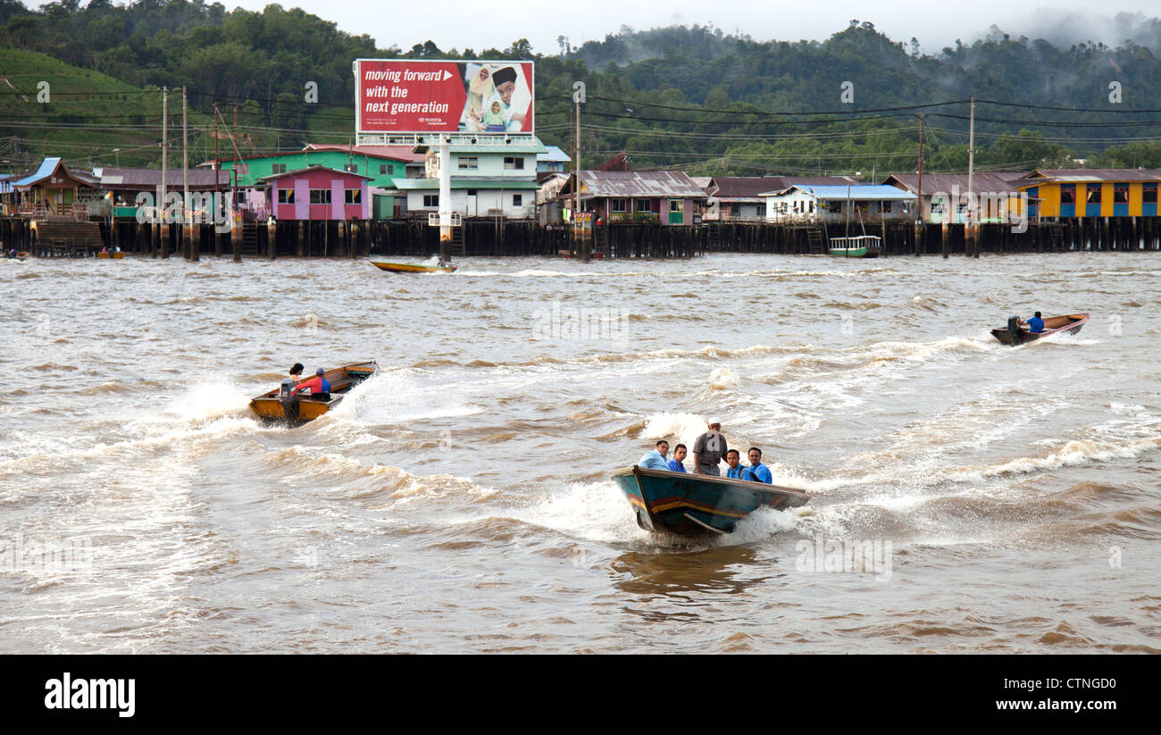 Water taxis in Kampong Ayer Bandar Seri Begawan Brunei. - Stock Image