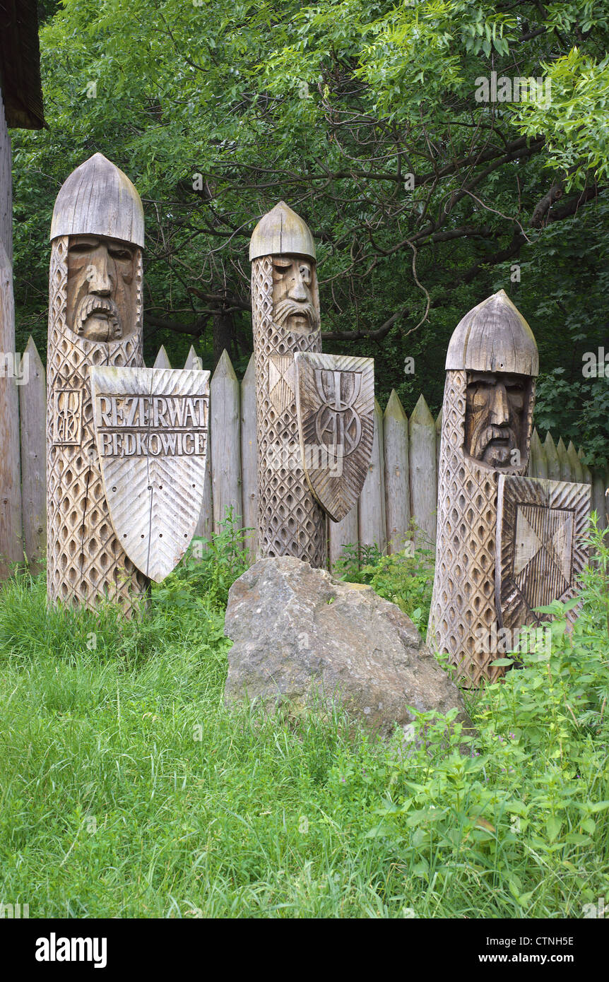 Wooden sculptures Bedkowice ancient Slavic dwelling Lower Silesia Poland Stock Photo