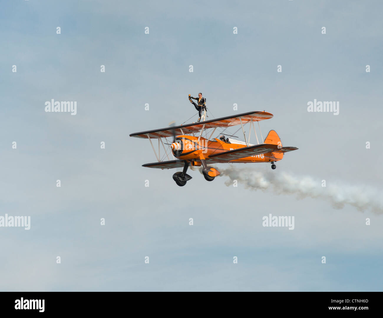 Wingwalker performing at Sunderland International Airshow - Stock Image