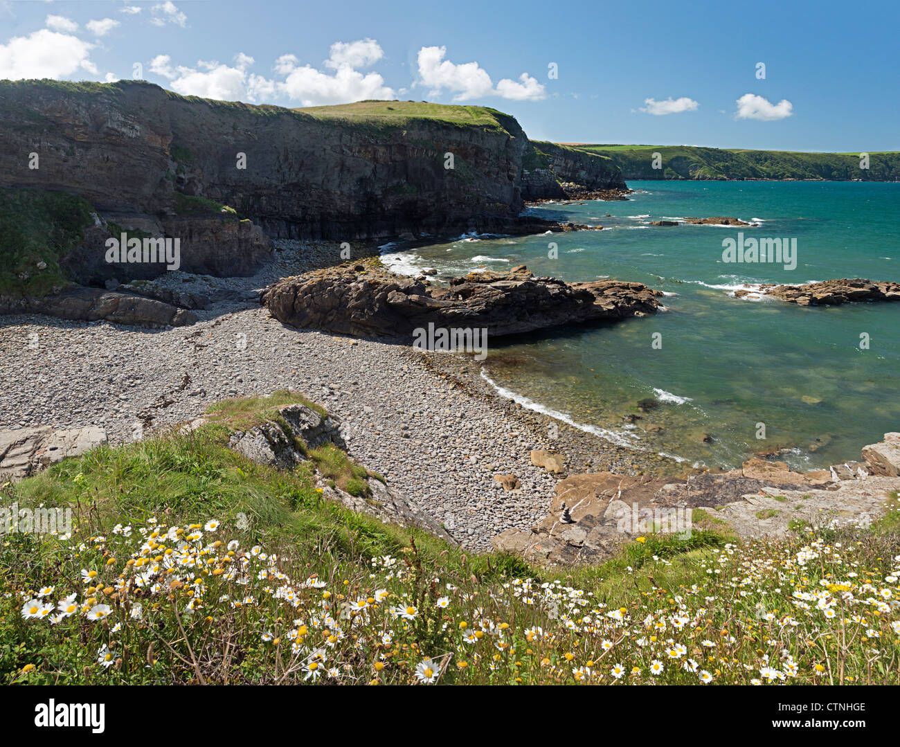 Stitched Panorama of Little Haven beach, Pembrokeshire, Wales - Stock Image
