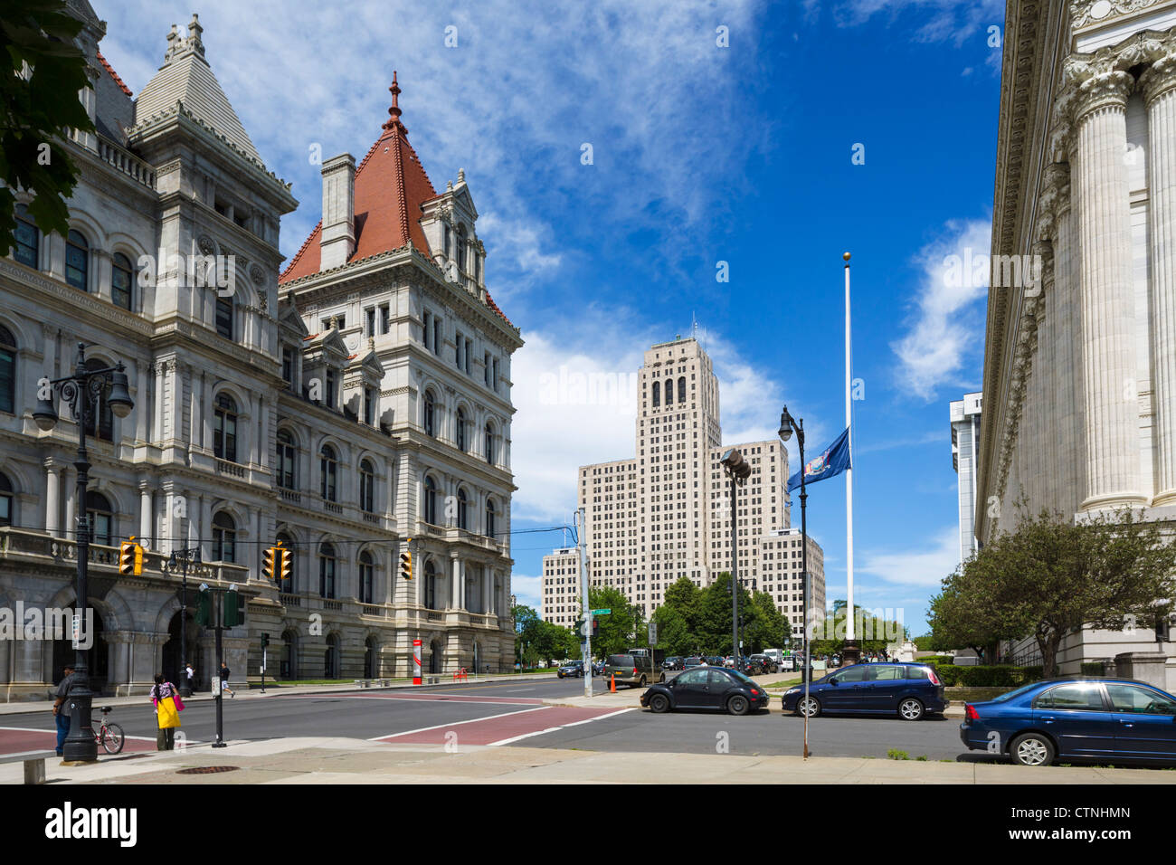 View down Washington Avenue with State Capitol to left and Alfred E Smith Building in background, Albany, New York - Stock Image