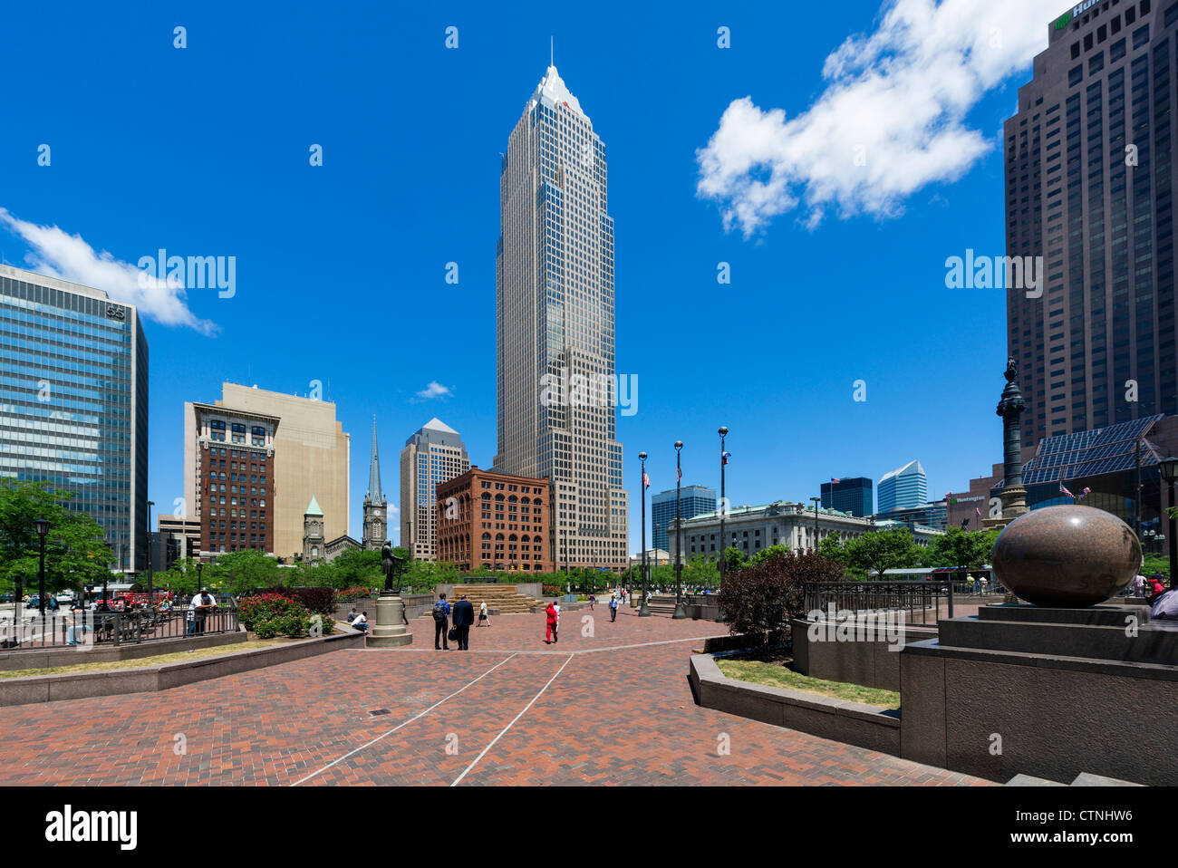 Public Square in the center of downtown Cleveland, Ohio, USA - Stock Image