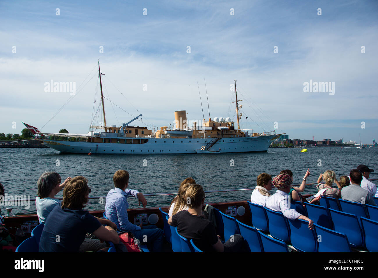 Summertime in Copenhagen, capitol of Denmark. The Royal yacht anchoring up in the habour - Stock Image