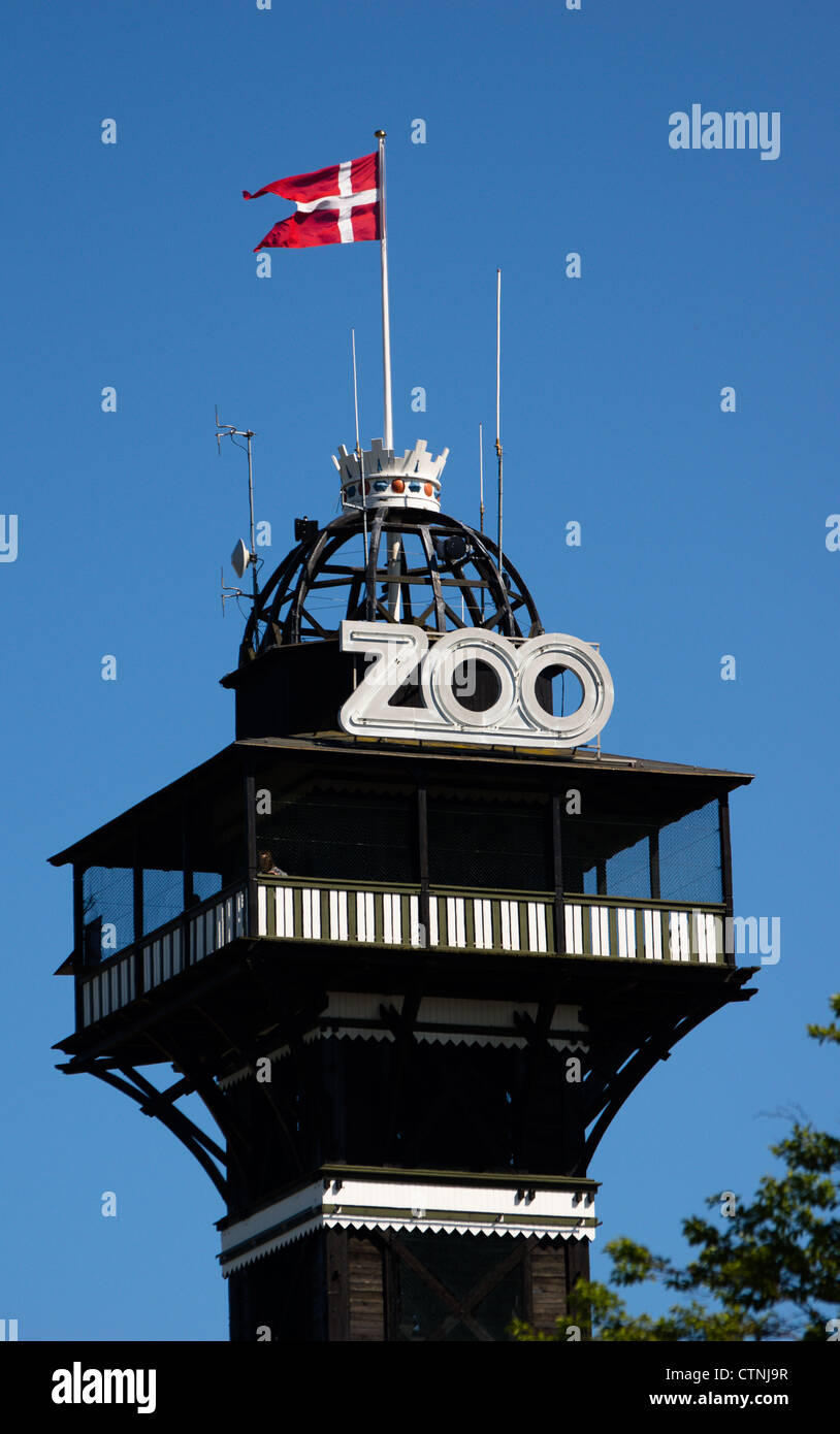 The iconic tower of Copenhagen Zoo. The Zoo is on top of the highest point i the city, you have a great view from - Stock Image