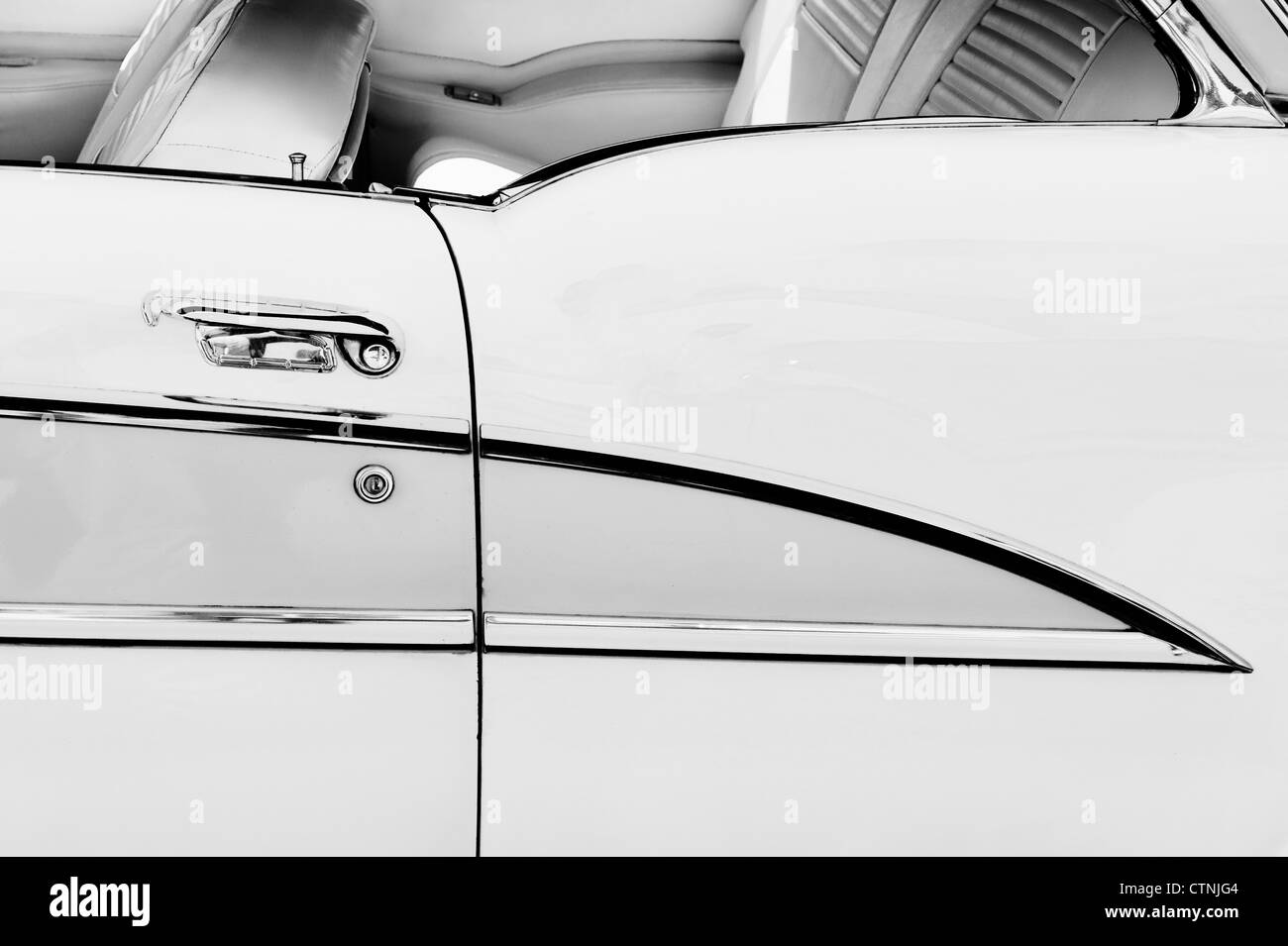 1955 Oldsmobile Holiday 98 coupe detail. Classic American car. Monochrome - Stock Image