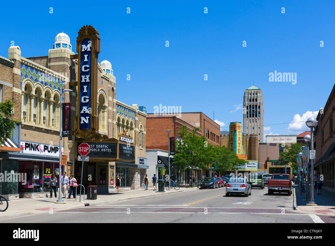 East Liberty Street in downtown with historic Michigan Theater to left and State Theater in distance, Ann Arbor, - Stock Image