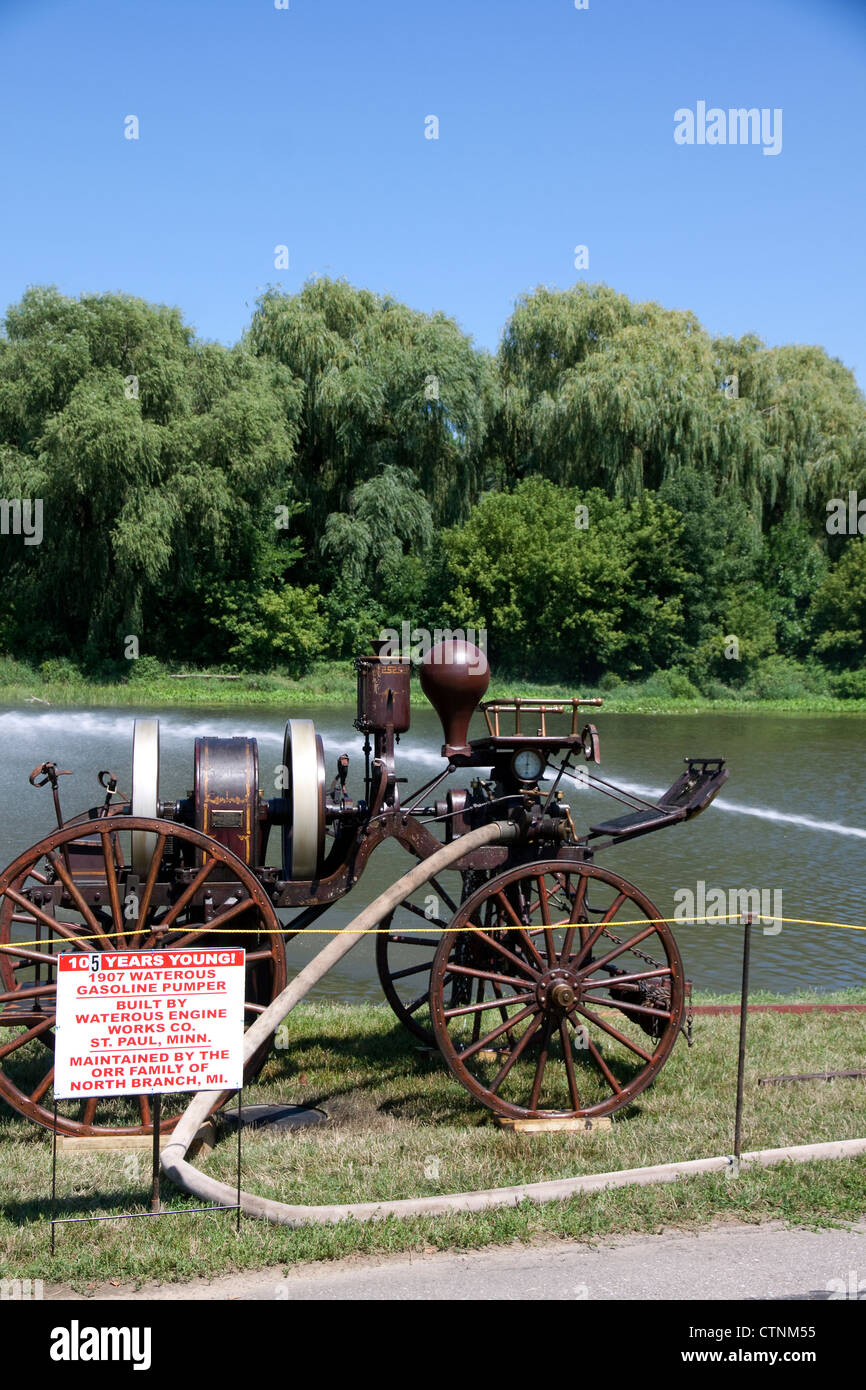 1907 Waterous Gasoline Fire Pumper pumping water, 2012 Fire Muster Show Frankenmuth, Michigan USA - Stock Image