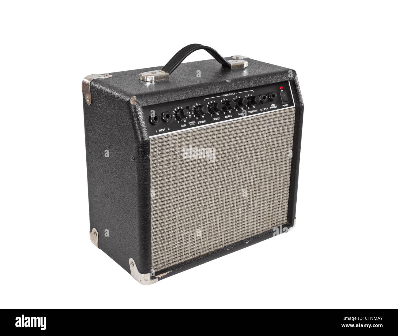 Vintage guitar practice amplifier isolated with clipping path. Stock Photo