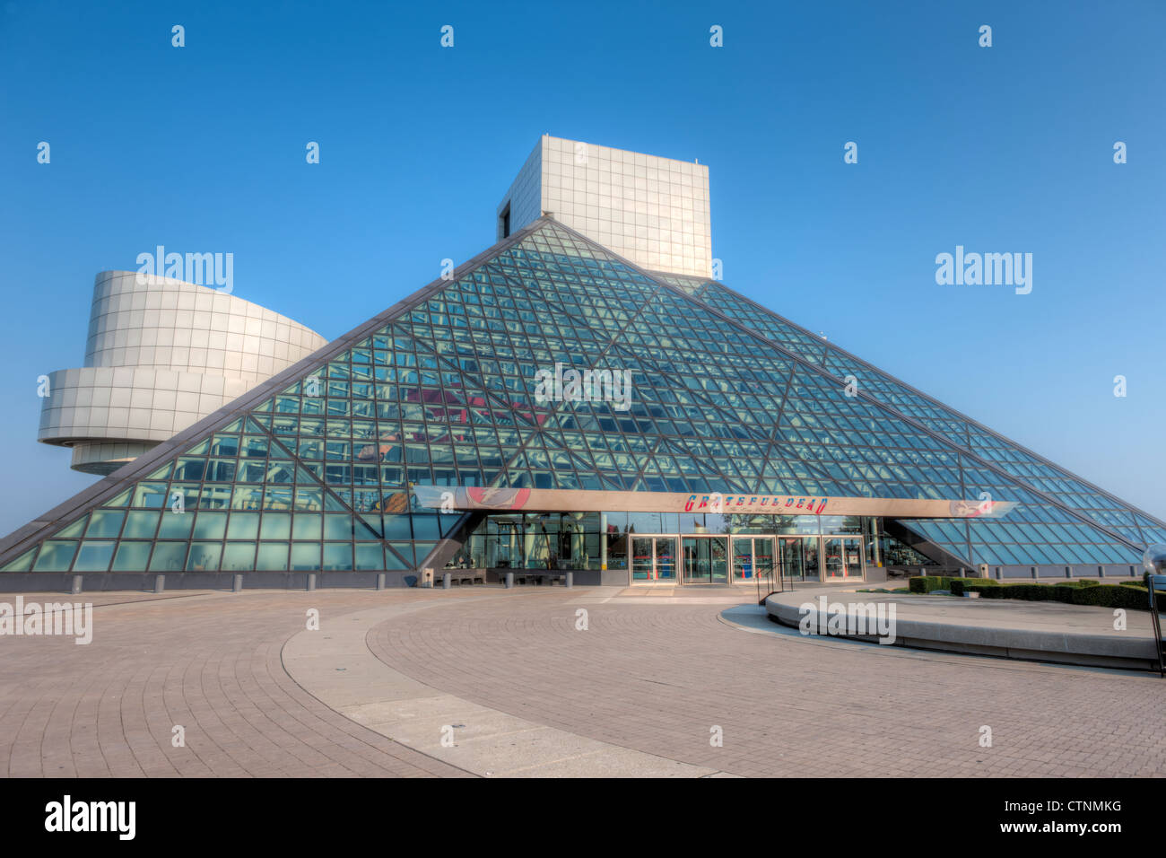 The Rock and Roll Hall of Fame in Cleveland, Ohio. - Stock Image