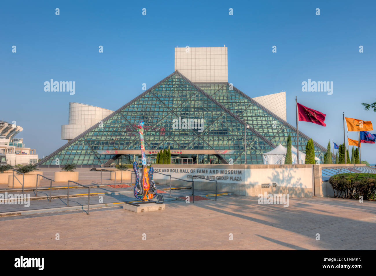 The Rock and Roll Hall of Fame and a GuitarMania guitar in Cleveland, Ohio. Stock Photo