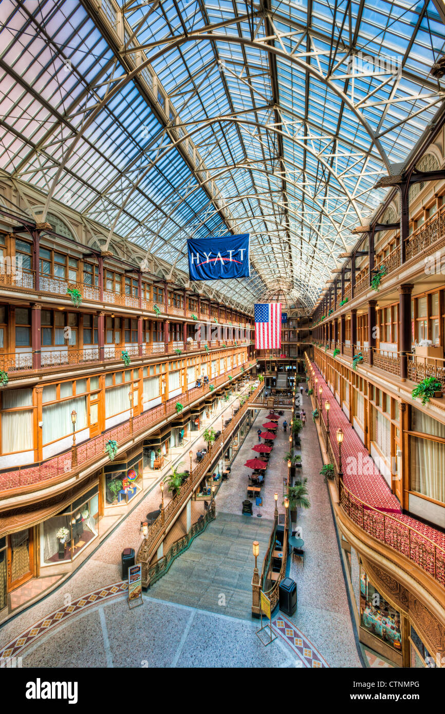 The historic Arcade a landmark shopping and mercantile center in Cleveland, Ohio. - Stock Image