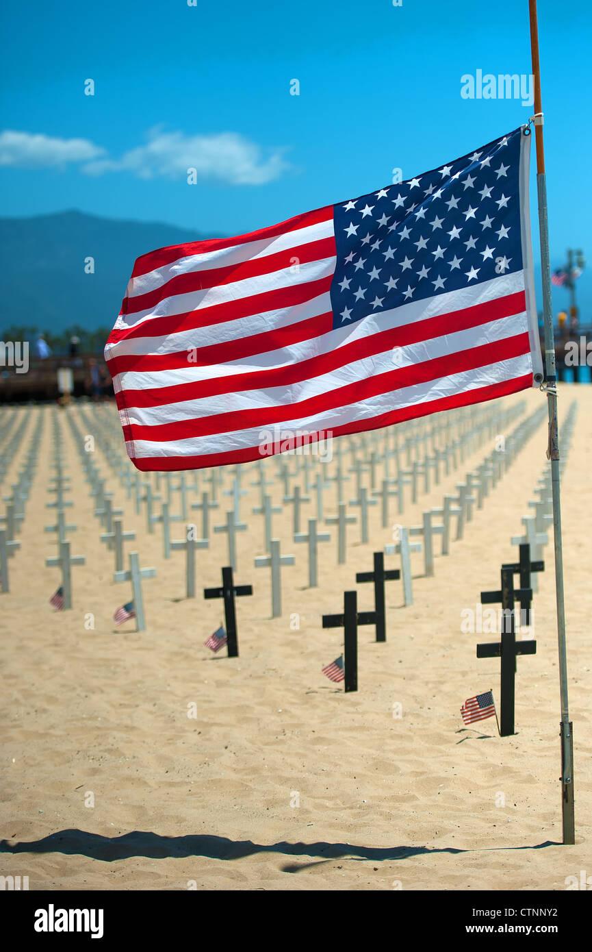 Arlington West, Santa Barbara. Memorial Day 2012 - Stock Image