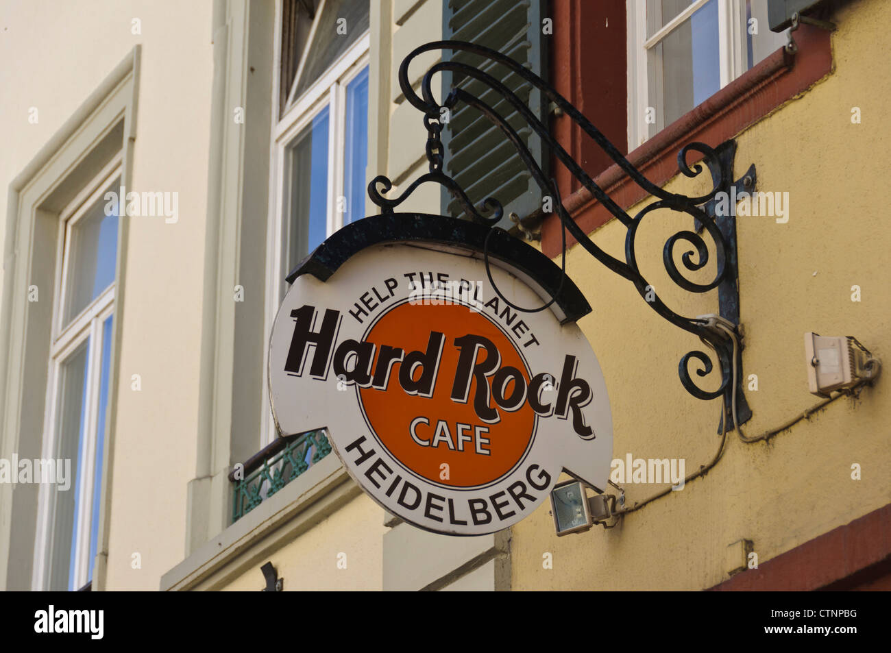 The Hard Rock Cafe sign in the historical Altstadt 'Old Town' of the German City Heidelberg, Germany Europe - Stock Image