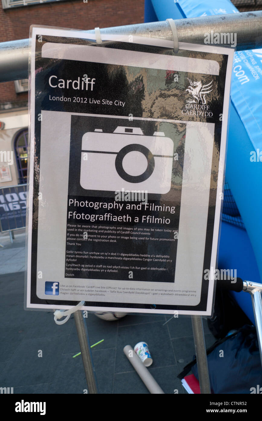 Cardiff City Council's Photography Policy on a notice displayed in the streets of Cardiff during the 2012 London - Stock Image