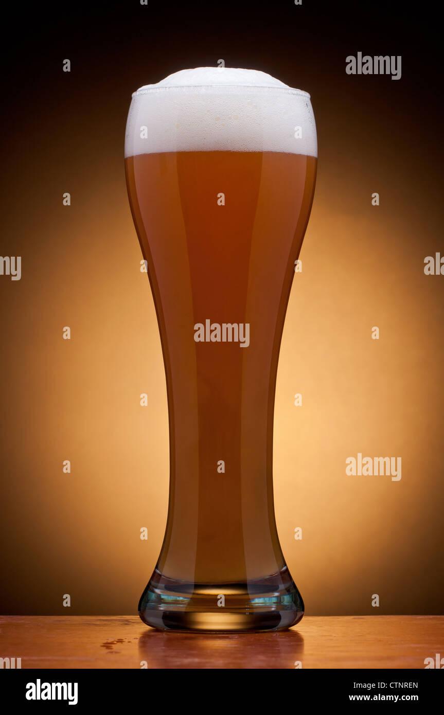 glass of fresh draft beer - Stock Image