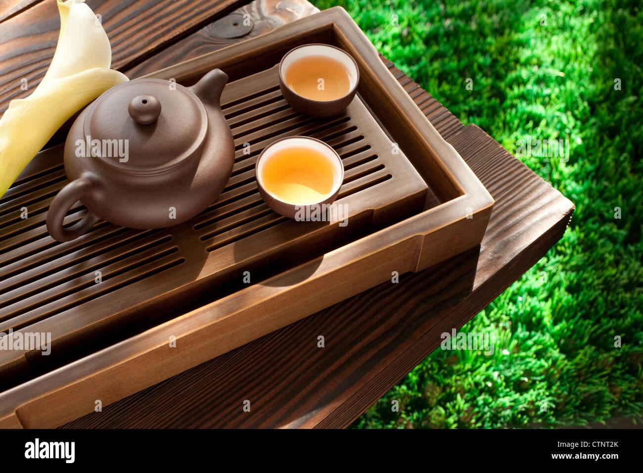 Tea and tea set - Stock Image