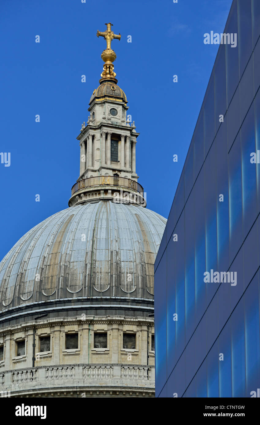 St Paul's cathedral and One New Change shopping destination London United Kingdom - Stock Image