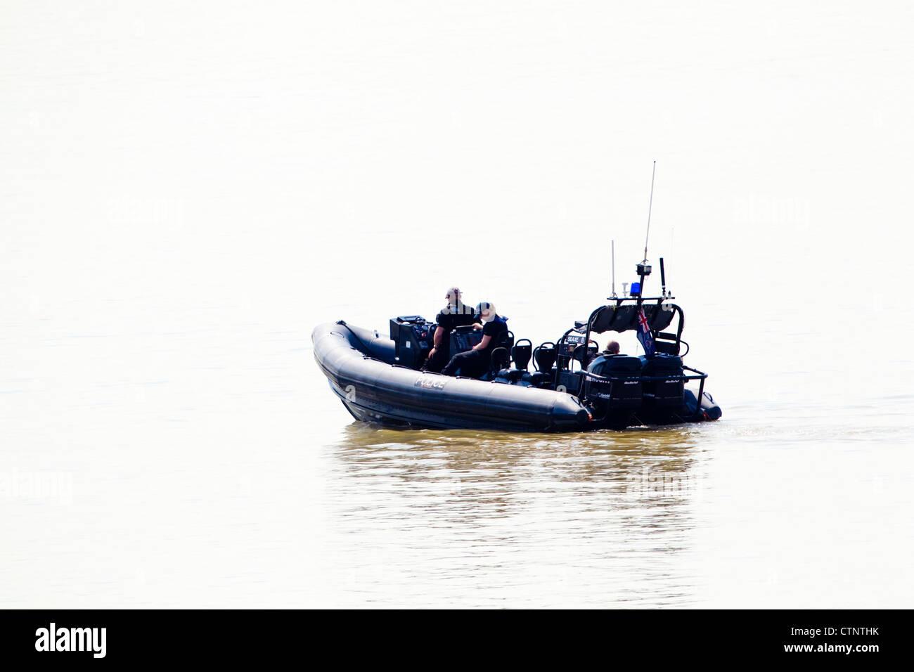 Police rib on River Thames, London, UK - Stock Image