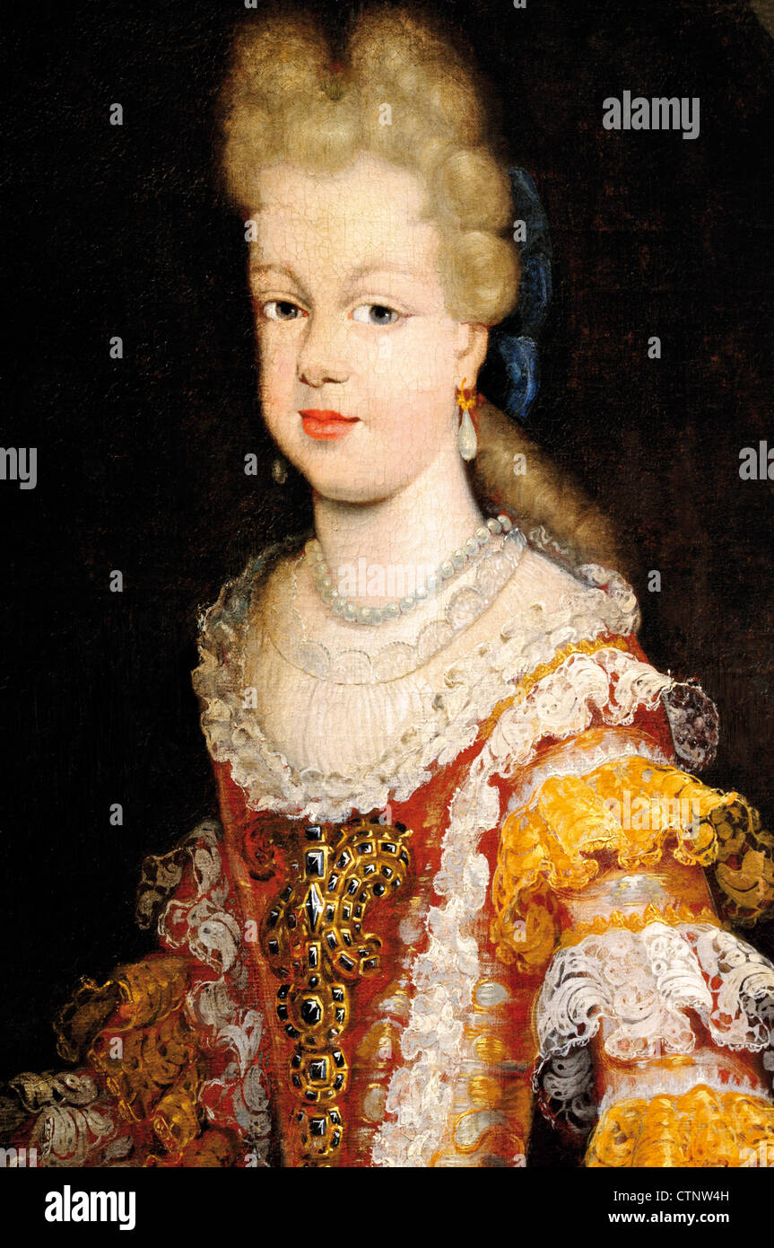 Spain, Burgos: Oil drawing of spanish queen Maria Luisa of Savoy in the Monastery Cartuja de Miraflores - Stock Image