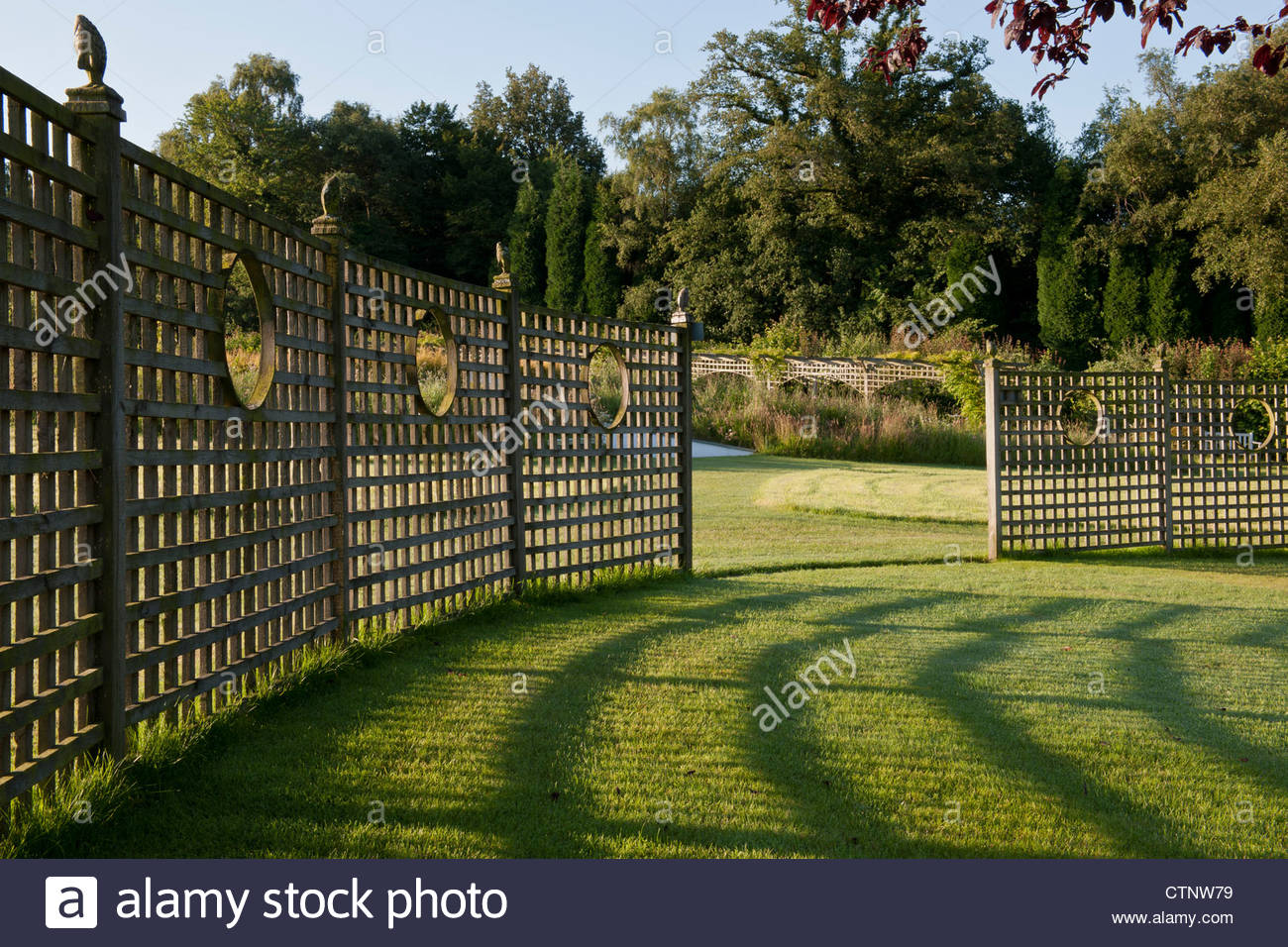 curved trellis shadow patterns lawn grass summer July sun sunny Latchetts Sussex child friendly childrens garden - Stock Image