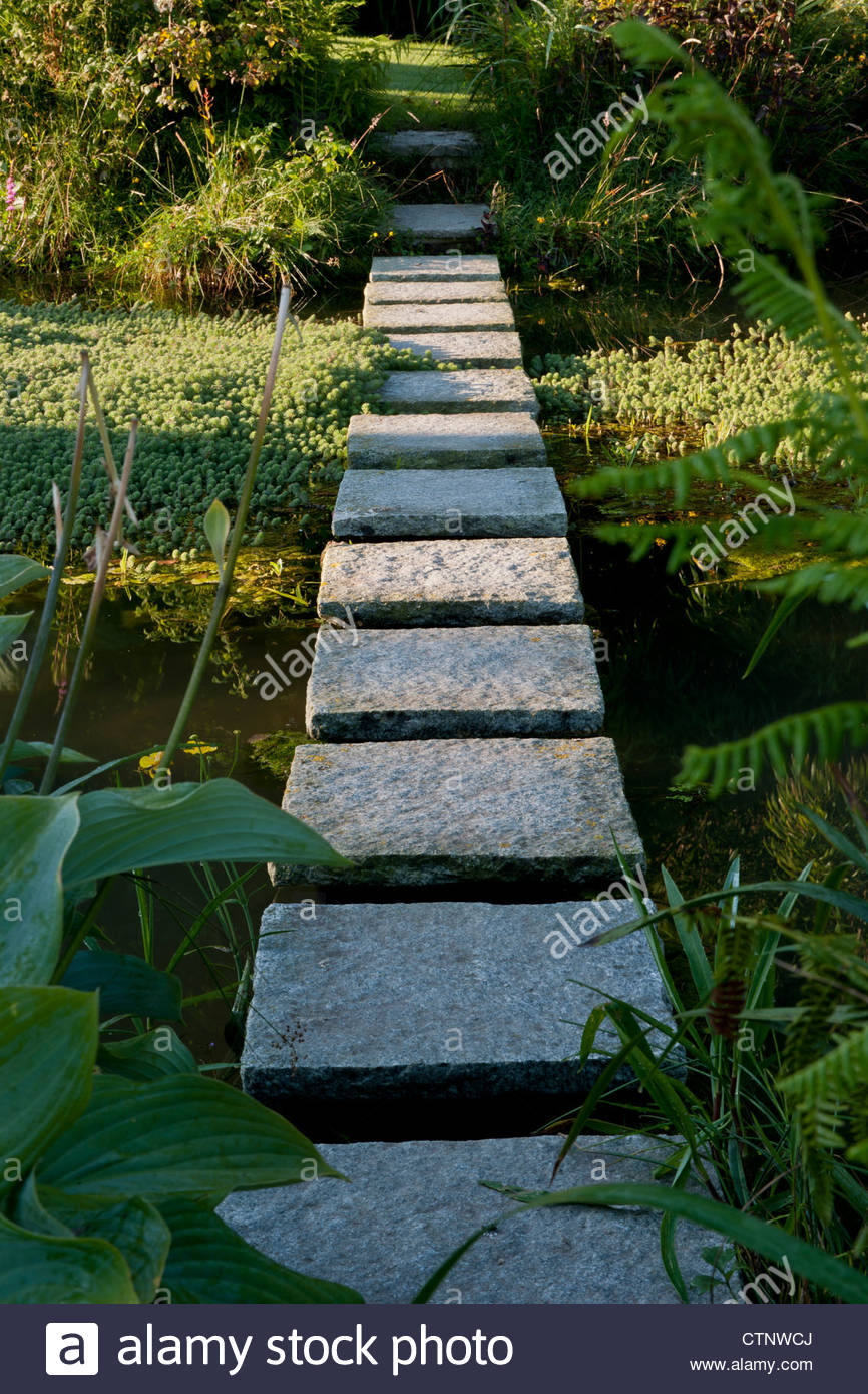 Square Stepping Stone Path Across Surface Pond Water Summer July Sun Sunny  Latchetts Sussex Child Friendly