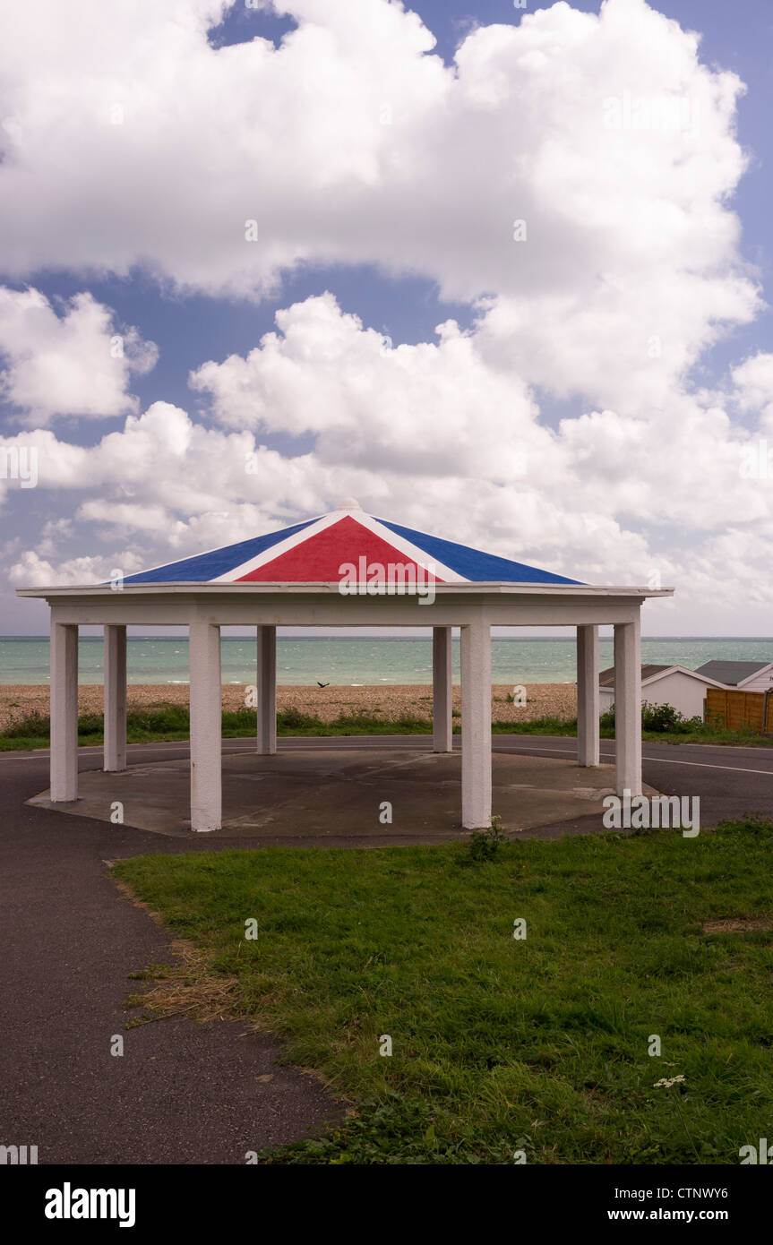 Lancing bandstand painted in Red, White and Blue - Stock Image