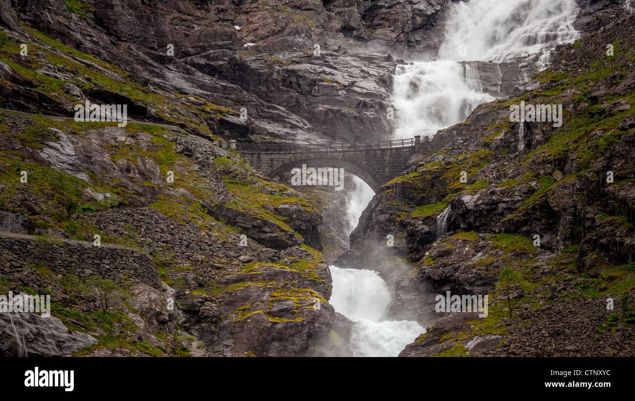 Waterfall Stigfossen, Trollstigen, Norway - Stock Image