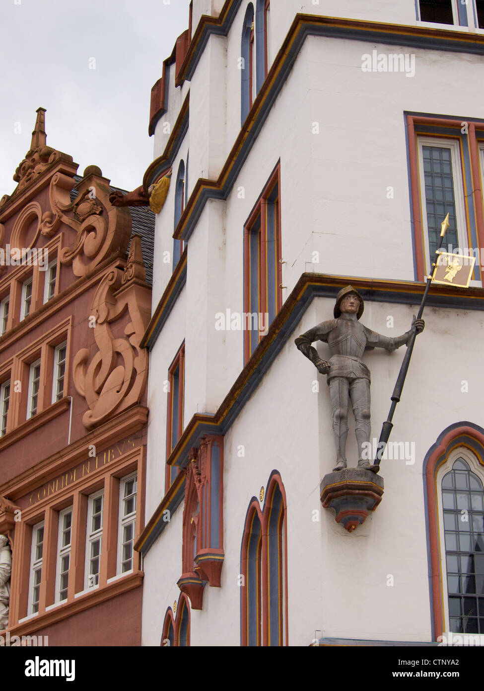 Beautiful building details in the historic city center of Trier, Germany - Stock Image