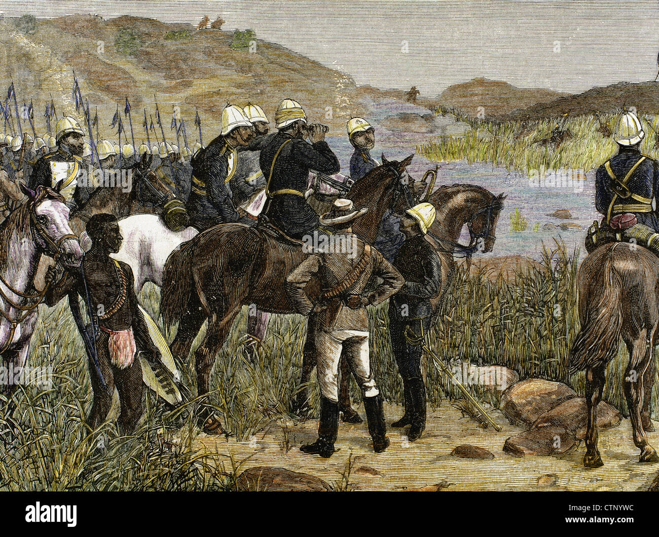 Capture of Cetshwayo. Major Marter sights the Kraal, last refuge of the ex-king of the Zulus. Colored engraving. - Stock Image