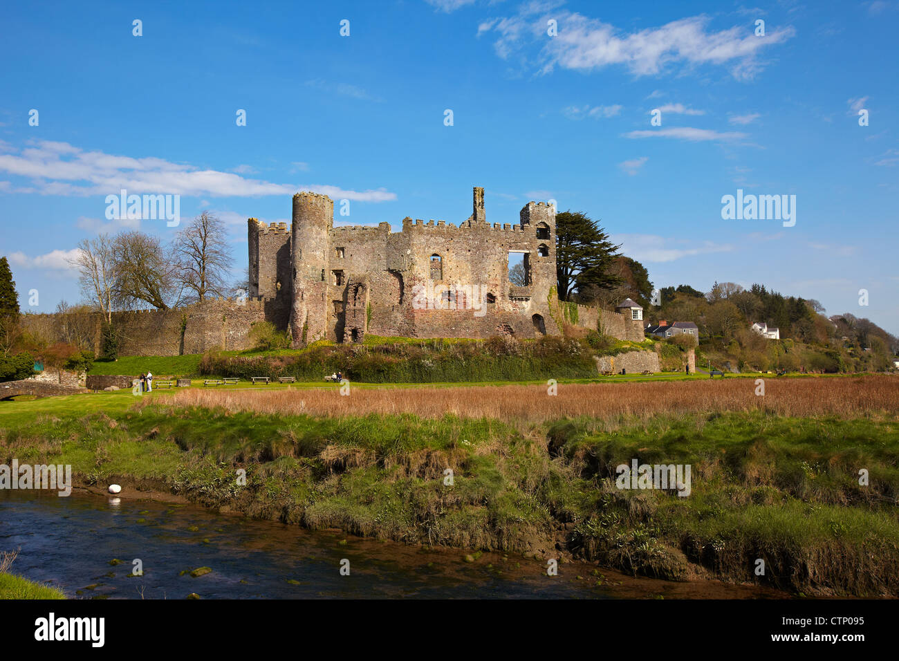 Laugharne Castle, Carmarthenshire, Wales, UK - Stock Image