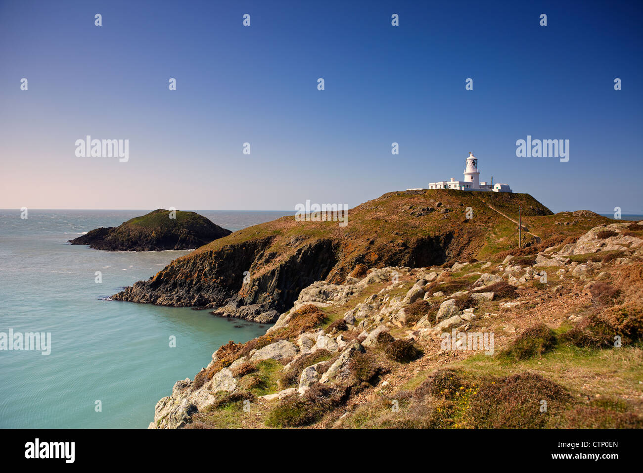 Strumble Head Lighthouse, near Fishguard, West Wales, UK - Stock Image