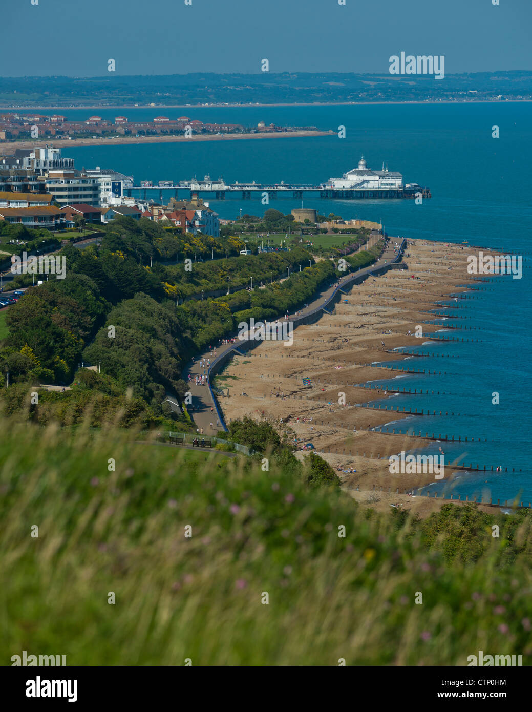 Eastbourne viewed from The South Downs National Park, East Sussex, England, UK Stock Photo