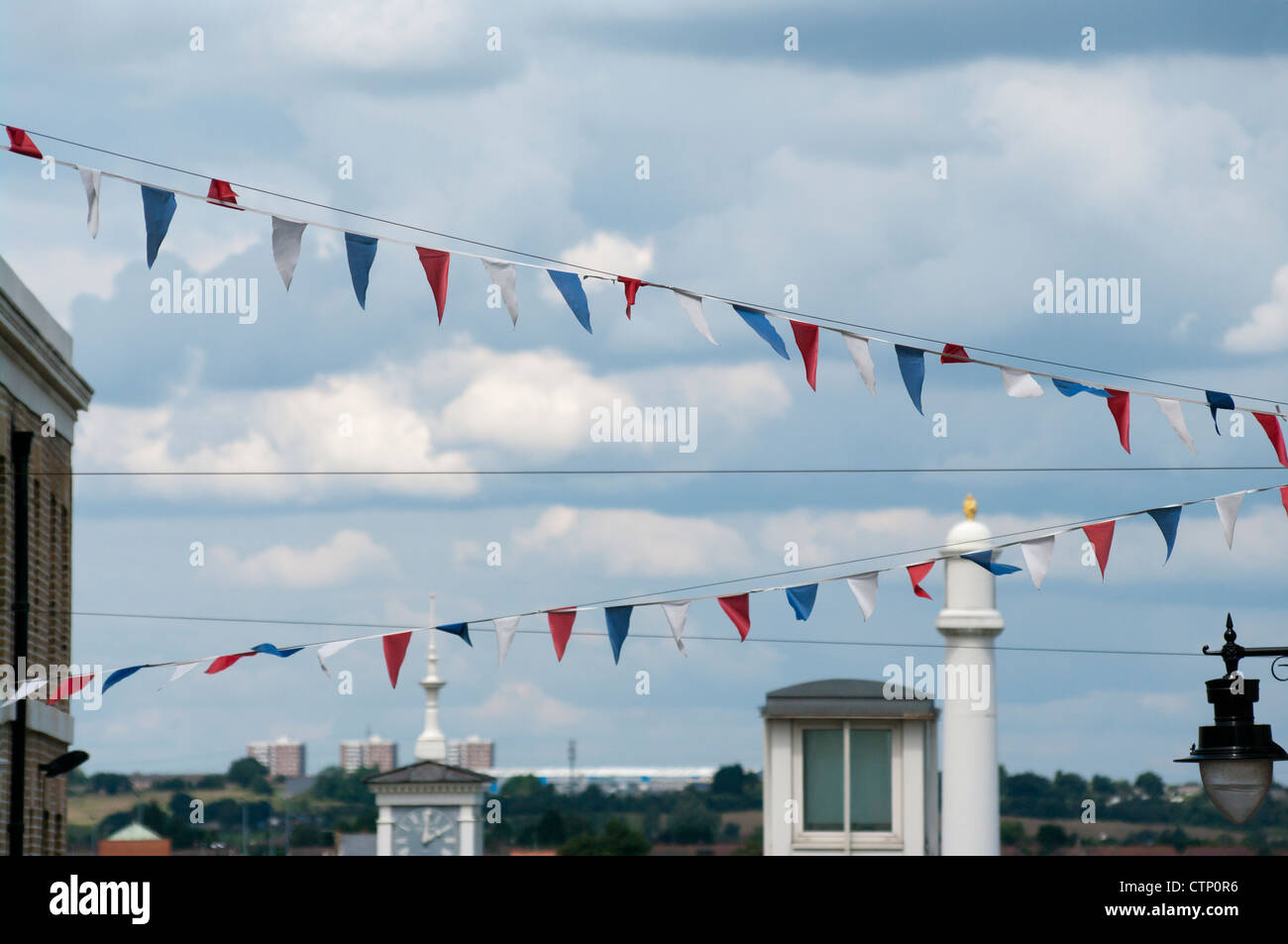Red White and Blue Street Bunting UK - Stock Image