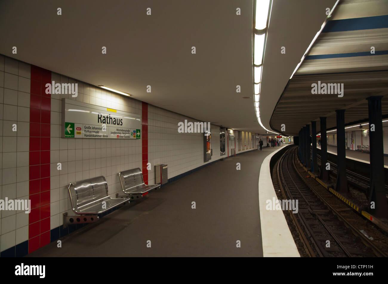 Rathaus metro station platform Hamburg Germany Europe - Stock Image