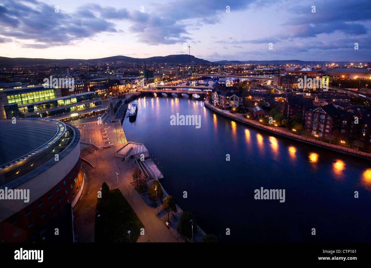 Dusk view over Belfast, Northern Ireland - Stock Image