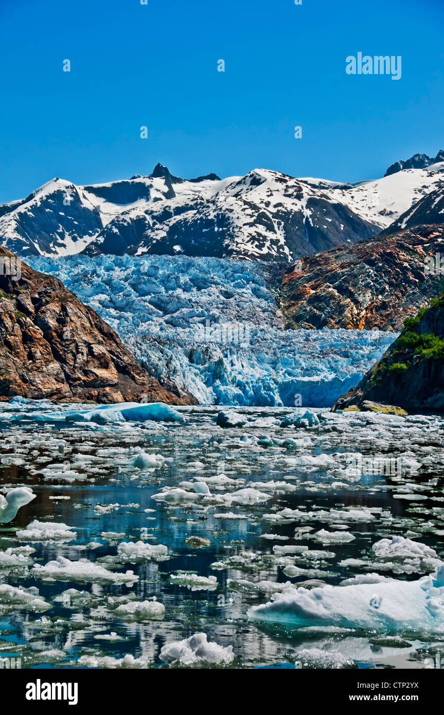 Summer ice bergs float in front of South Sawyer Glacier in Tracy Arm, Tracy Arm-Fords Terror Wilderness, Souhteast - Stock Image