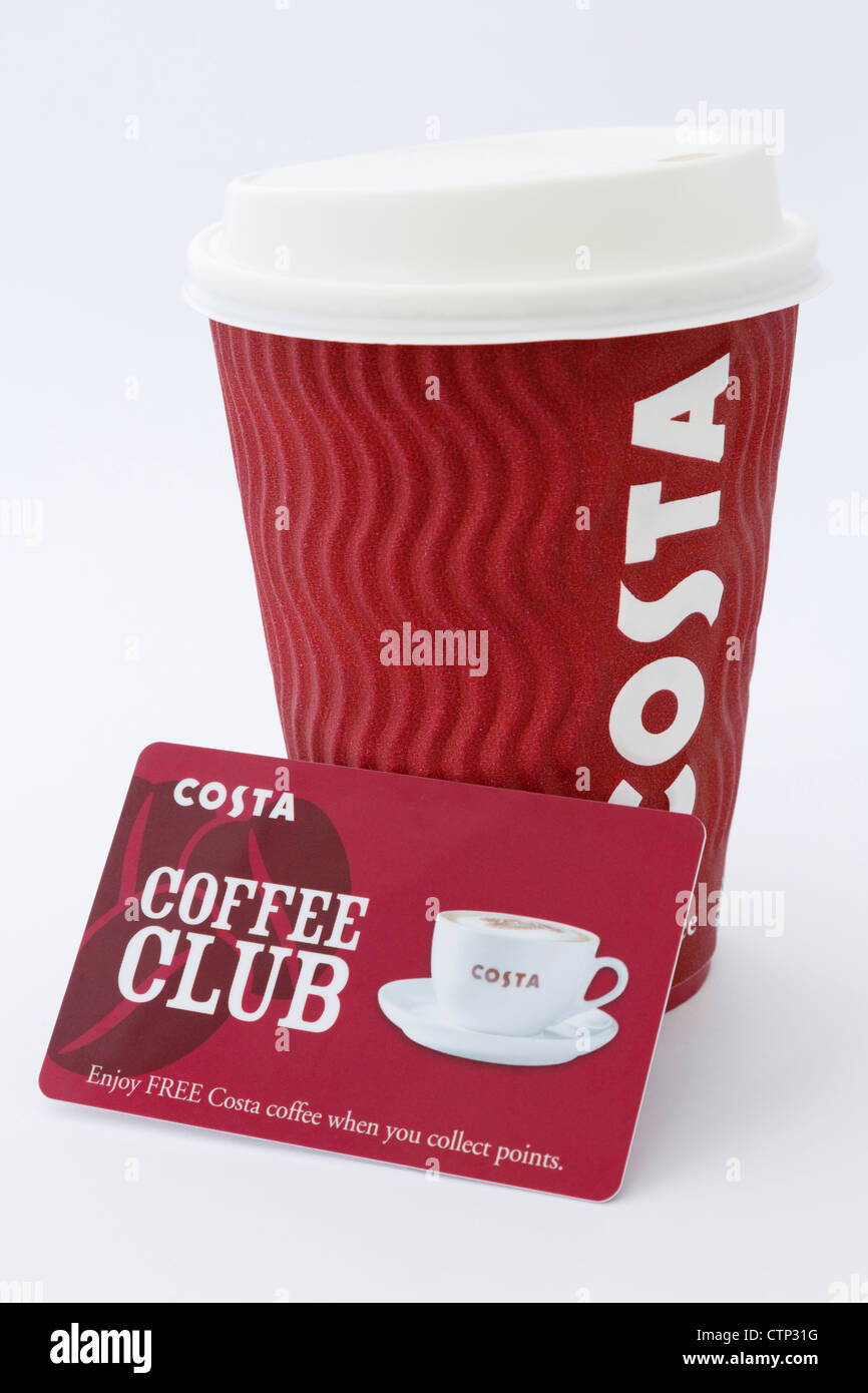 Costa coffee disposable paper cup with plastic drink-through lid and coffee club loyalty card isolated on plain - Stock Image