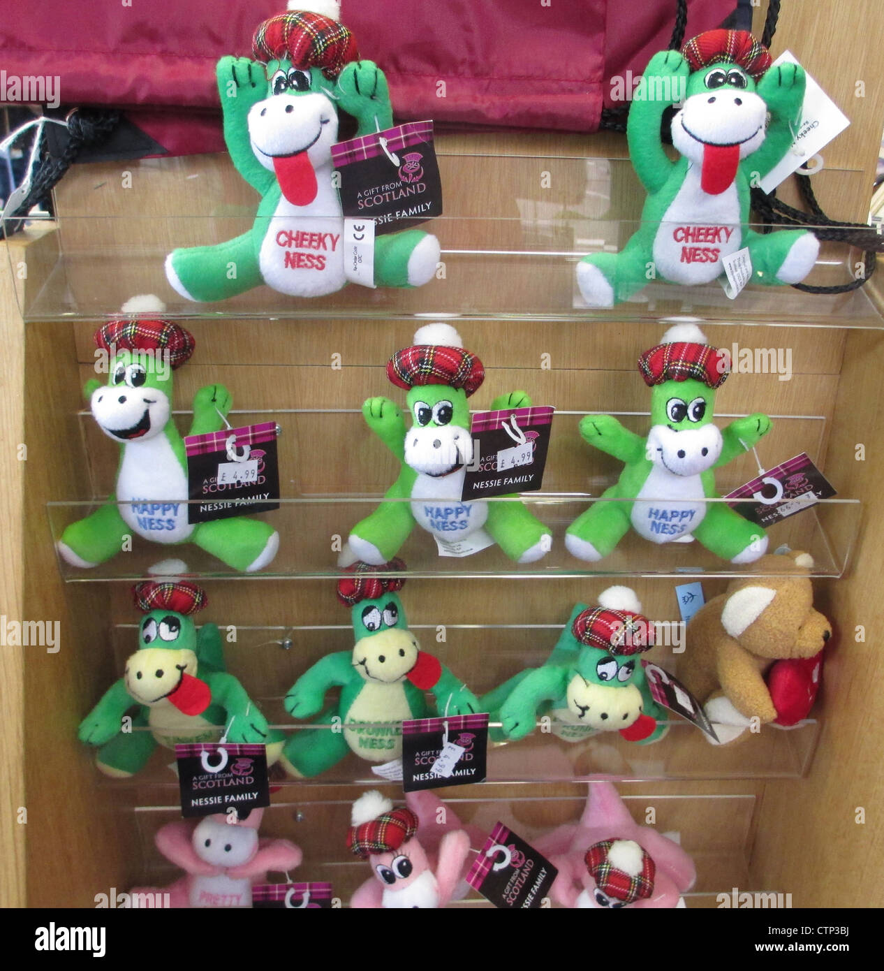"""Nessie"" Loch Ness monster merchandise on sale. Photo Tony Gale"