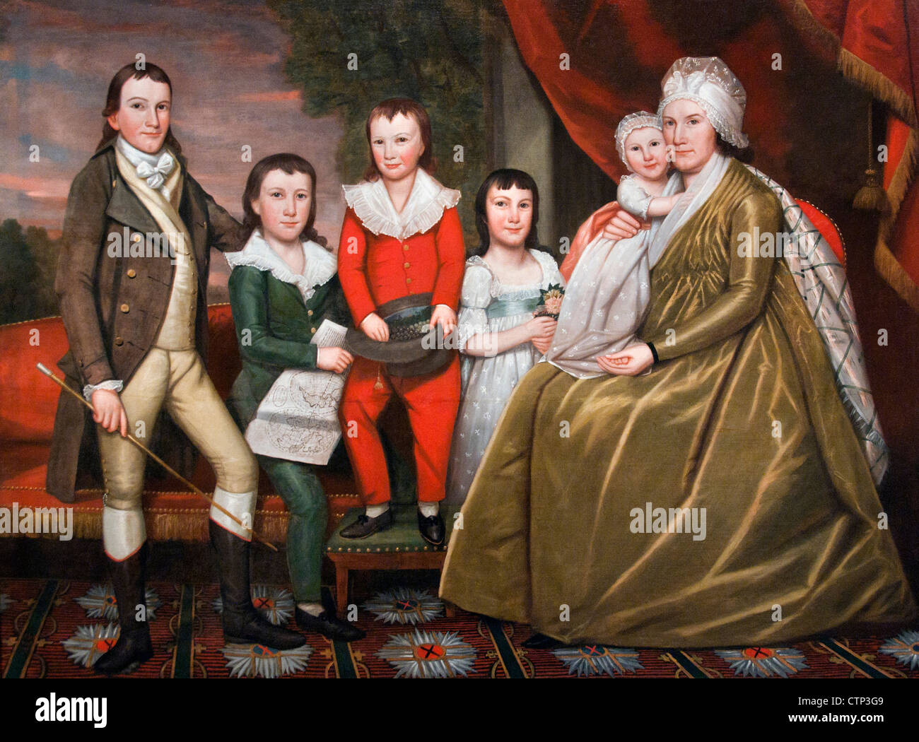 Mrs. Noah Smith and Her Children 1798 Ralph Earl American United States of America - Stock Image