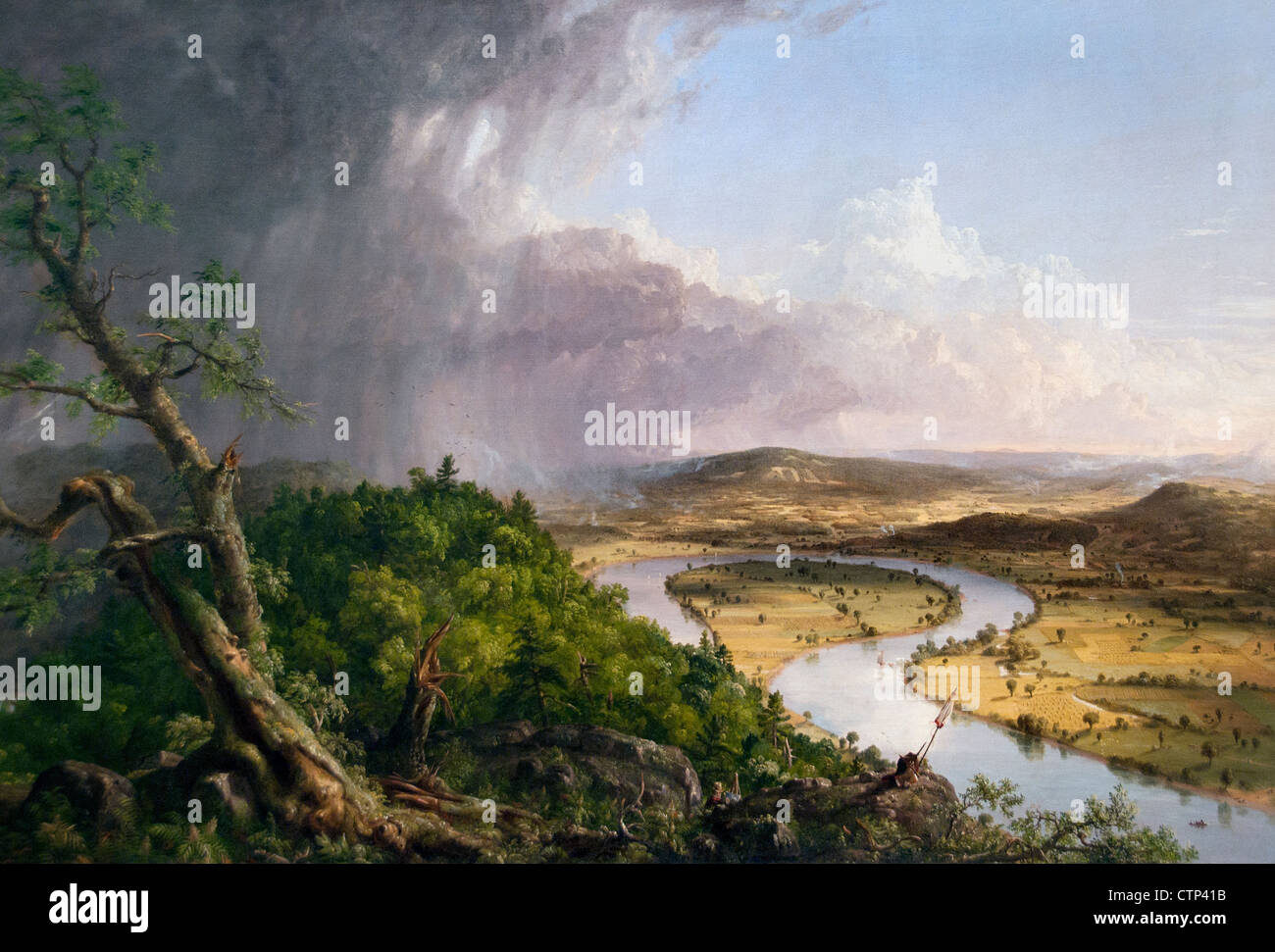 View from Mount Holyoke Northampton Massachusetts after Thunderstorm Oxbow 1836 Thomas Cole American United States - Stock Image