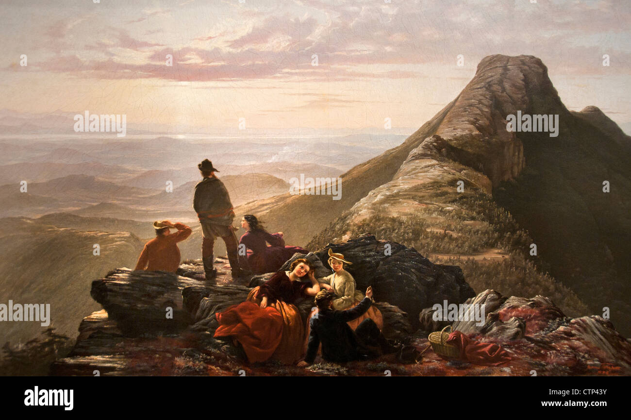 The Belated Party on Mansfield Mountain 1858 Jerome B. Thompson  American United States of America - Stock Image