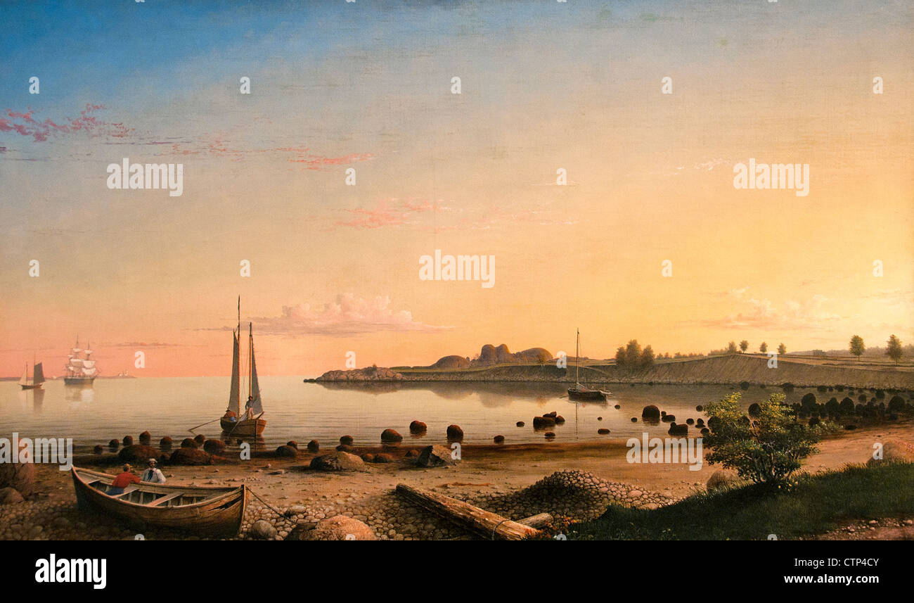 Stage Fort across Gloucester Harbor 1862 Fitz Henry Lane American United States of America - Stock Image