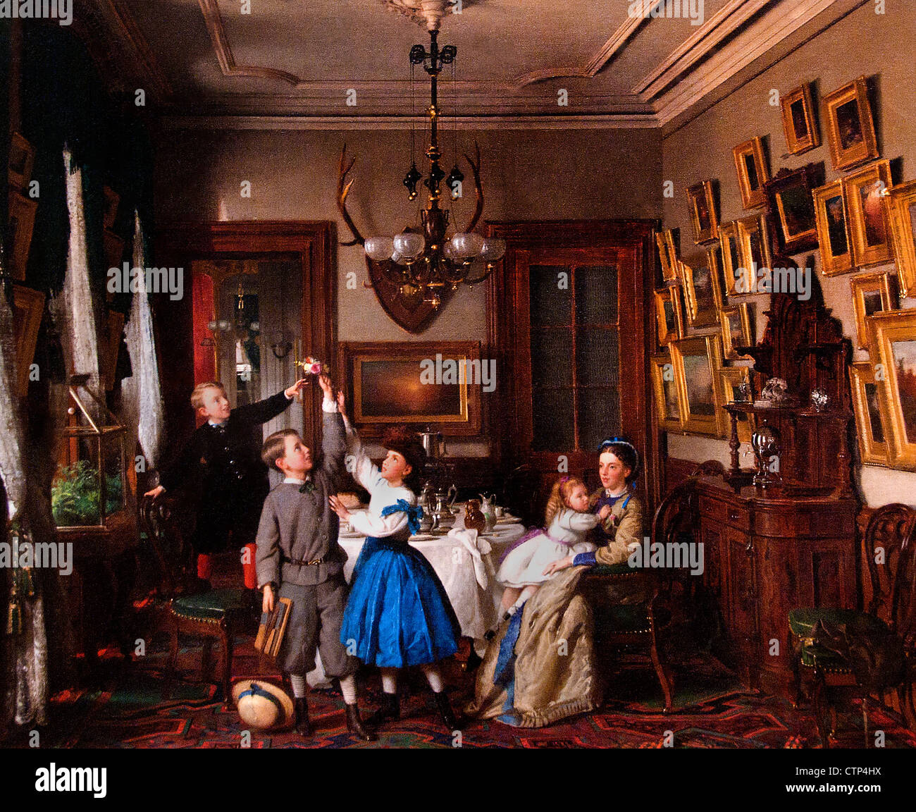The Contest for the Bouquet: The Family of Robert Gordon in Their New York Dining-Room 1866 Seymour Joseph Guy  - Stock Image
