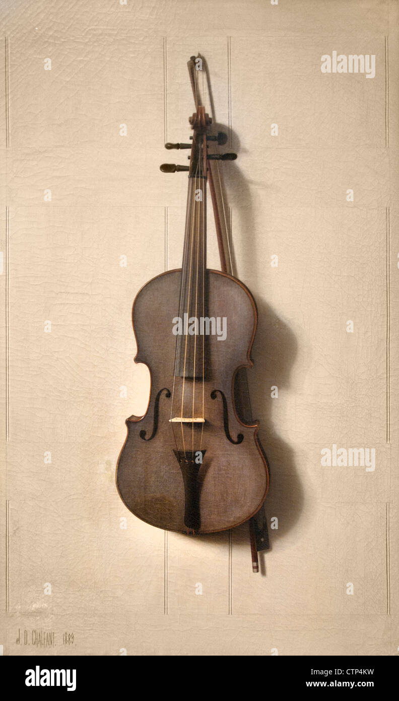 Violin and Bow 1889 Jefferson D Chalfant American United States of America - Stock Image