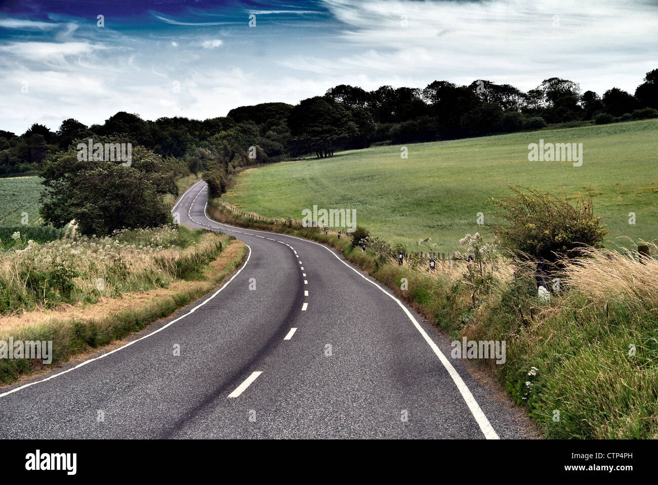 Country road in Kent UK - Stock Image
